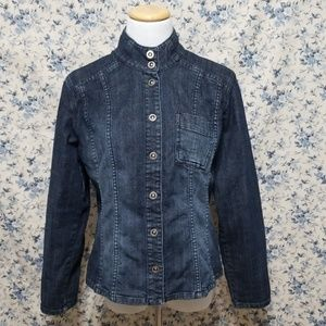 CHICO'S Denim Blue Jean Jacket unusual snaps